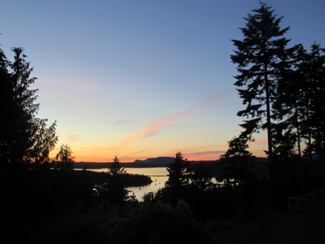 July sunset over Fisherman Bay and Turtleback Mountain